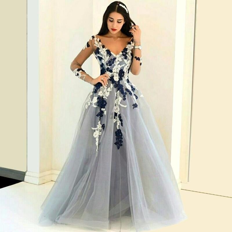 Hot Sale Light Gray Tulle Prom Dress 2017 Long Sleeves Flower ...