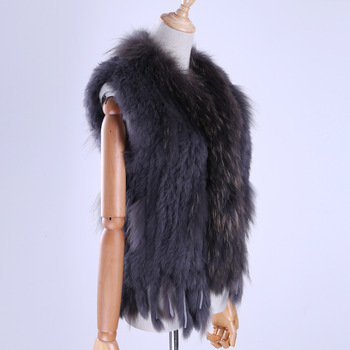 Brand New Women's Lady Genuine Real Knitted Rabbit Fur Vests tassels Raccoon Fur Trimming Collar Waistcoat Fur Sleeveless Gilet 1