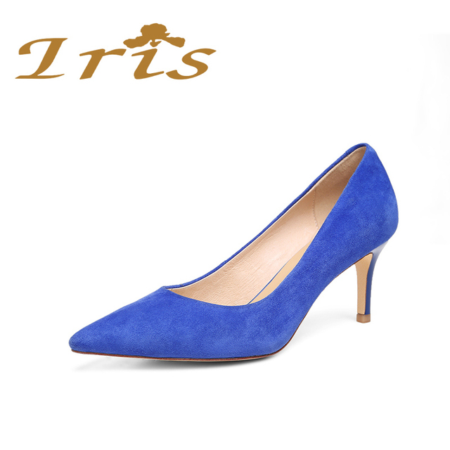 IRIS High Heels Office Career Shoes Woman Royal Blue Pointed Toe Ladies  Pumps Elegant Shallow Dress Shoes Women Genuine Leather