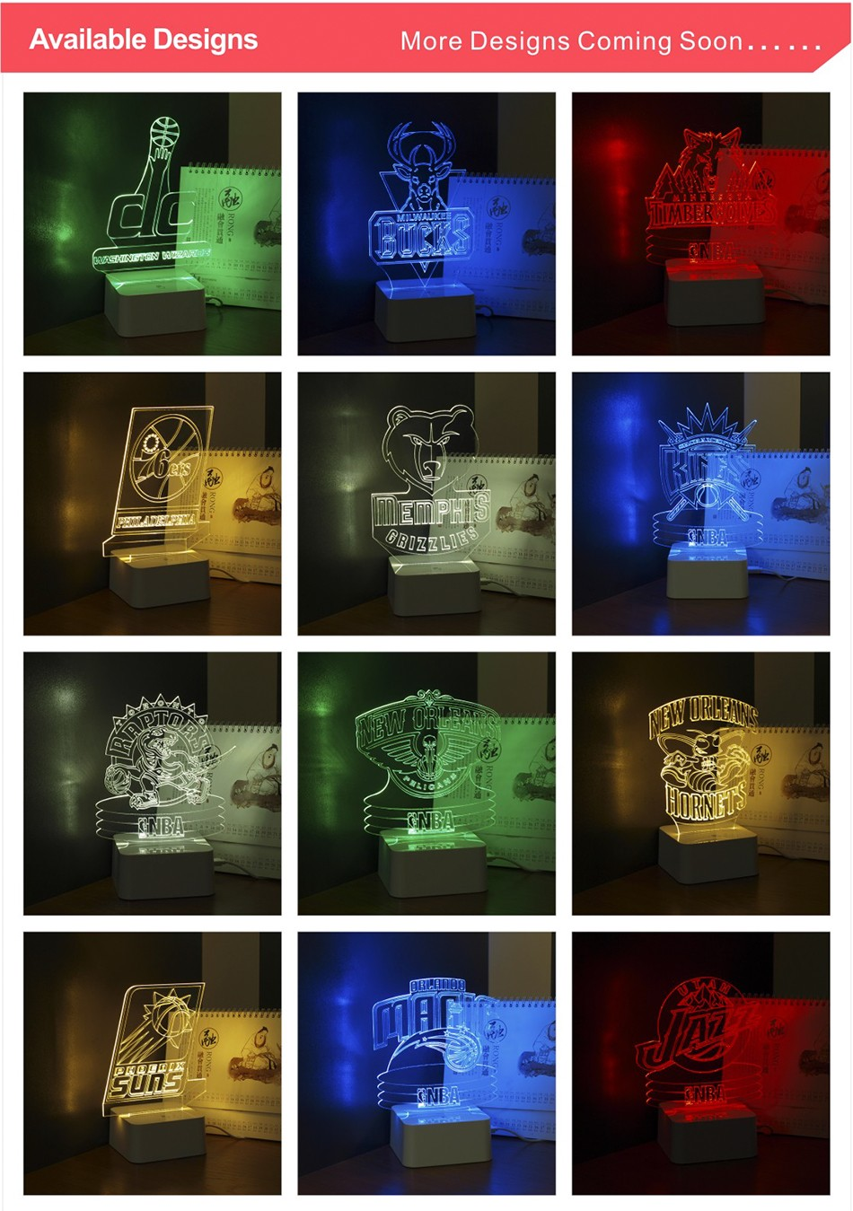 3D Lamp USB Novelty for Portland NBA Basketball Fans LED Night Light as Creative Gifts or Home Decor (6)