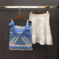 2020 Summer Fashion Crop Sets High Quality Ladies Lace Patchwork Strap Vest Tops+Hollow Out Embroidery A Line White Skirt Sets