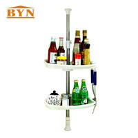BYN Home Kitchen Storage Floor to Ceiling Ivory 2 Tier Stackable Spice Rack Organizer 70 100cm DQ0787 2