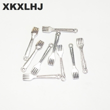 XKXLHJ 20pcs New Charms fork cooking kitchen 23*4.5mm Tibetan Silver Plated Pendants Antique Jewelry Making DIY Handmade Craft