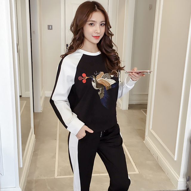 New Women Tracksuit 2 Pieces Set Bird Embroidery Pullover + Harem Pants Elastic Waist Black White Color Block S-XL S79901
