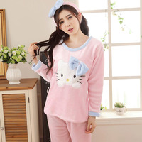 Korean Autumn And Winter Coral Down Woman Long Sleeve Lovely Cartoon Thickening Flannel Home Furnishing Serve