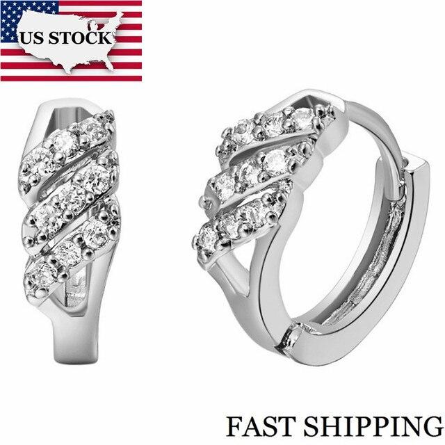 US STOCK 15% Earrings Fashion Jewelry Rose Gold Color Silver Girl Cubic Zirconia Earrings for Women Wedding Earing Uloveido R527
