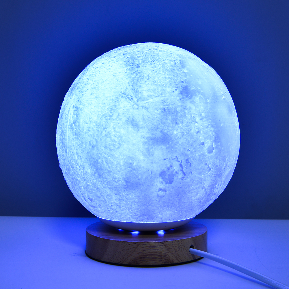 Rechargeable 7 Colors Change 3D Print Moon LED Night Light Moonlight Table Lamp Bedroom Study Home Decoration Indoor Lighting