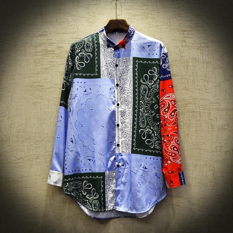 Men's Casual Shirt Camisa Masculina Hip Hop Patchwork Printed Long Sleeve Spring Summer Shirts Men National tide Fashion(China)