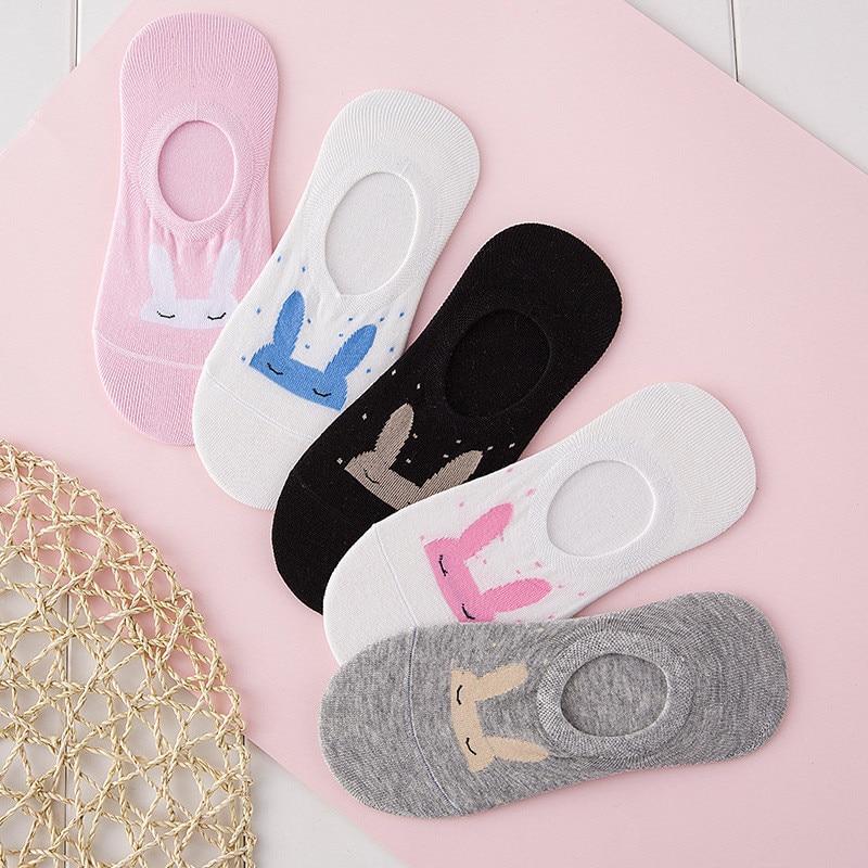 Cute Bunny Women Socks Anti Slip Ankle Socks Shallow Mouth Cotton Bamboo Fiber Sox For Female Girl Casual Hosiery 5 Colors