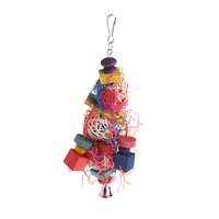 Bird   Parrot Toy Rattan Woven Play Toys With Bell Hanging Cage Bite Chewing Colorful Paper Strips   Bird     Supplies   C42