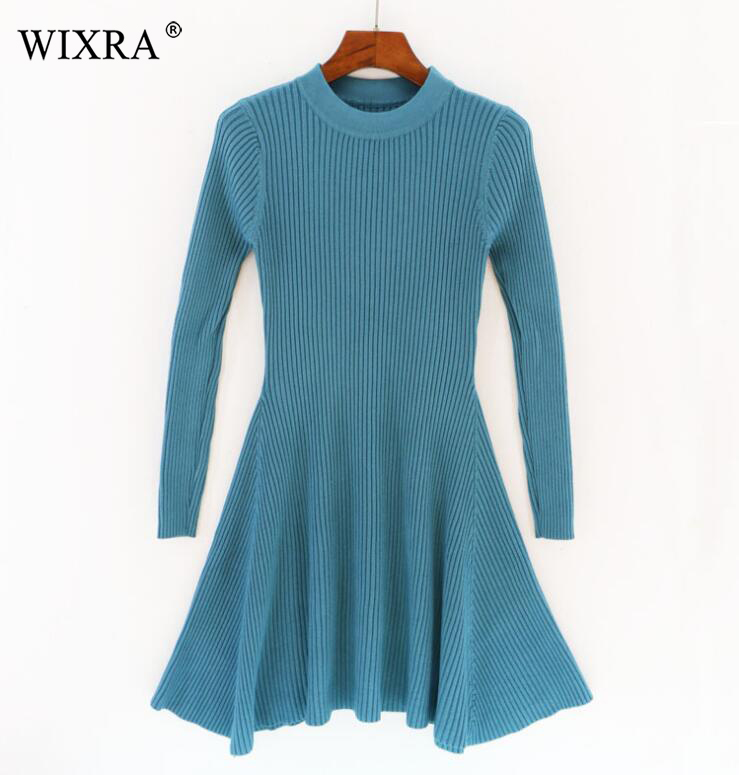 Wixra New Winter Spring Womens Clothing Sweater Dress All Base Match O Neck Long Sleeve Solid Pretty Dresses