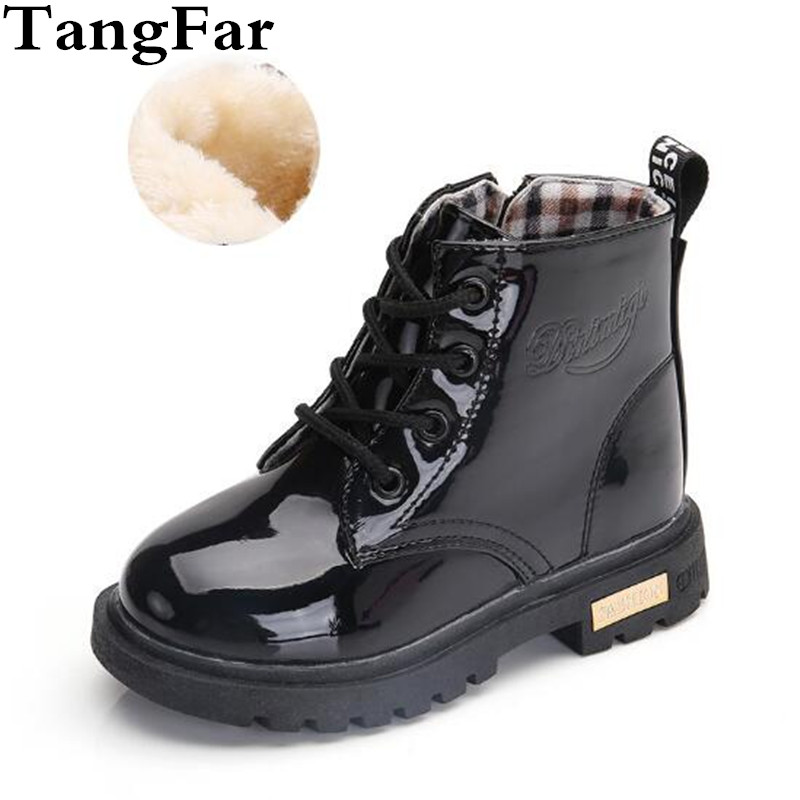 Children Shoes Winter Warm Fur PU Leather Waterproof Children  Boots Brand Boy Kids Rubber Boots Baby Girls Snow Boots