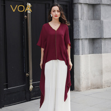 db47cc4e7cba7 VOA Heavy Silk T Shirt Women V Neck Casual Tee Loose Half Sleeve Tail Tops  Wine Red