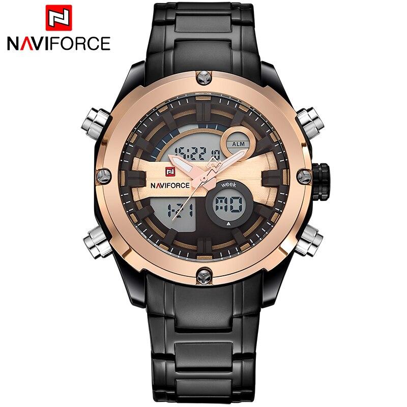 цена на NAVIFORCE Luxury brand Full Steel Watch Men LED Sports Army Military Watches Men's Quartz Analog Digital Watch relogio masculino