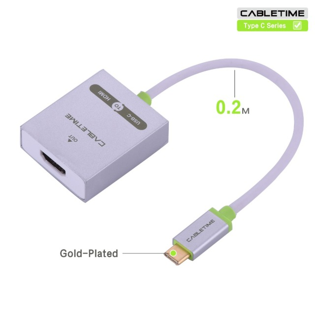 Cabletime 20cm usb 3.1 type c hdmi braided charge Cable Gold stand USB-C Male to HDMI Female adapter convertor HDTV 1080P N031