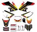 Rockstar team gráficos y fondos decal kits para honda crf50 crf50f estilo pit dirt bike (amarillo/blanco)