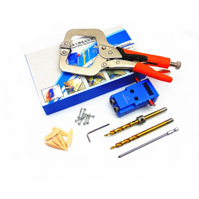 Mini Pocket Hole Jig Kit For Woodworking with 3/8 inch 9.5mm Step Drill Bit + 11 inch Face Clamp Locking C-Clamp Pliers HT1145 woodworking tool pocket hole jig woodwork guide repair carpenter kit system with toggle clamp and step drilling bit kreg type