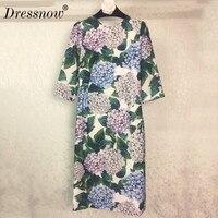 Высокое качество подиумные платья Для женщин высокое качество Цветочный принт Bodycon Элитная одежда