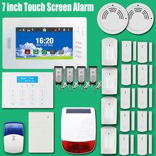 Бесплатная Доставка 7 дюймовый Сенсорный экран GSM Сигнализация & DIY Домашней Безопасности Охранной Сигнализации 868 МГц частоты