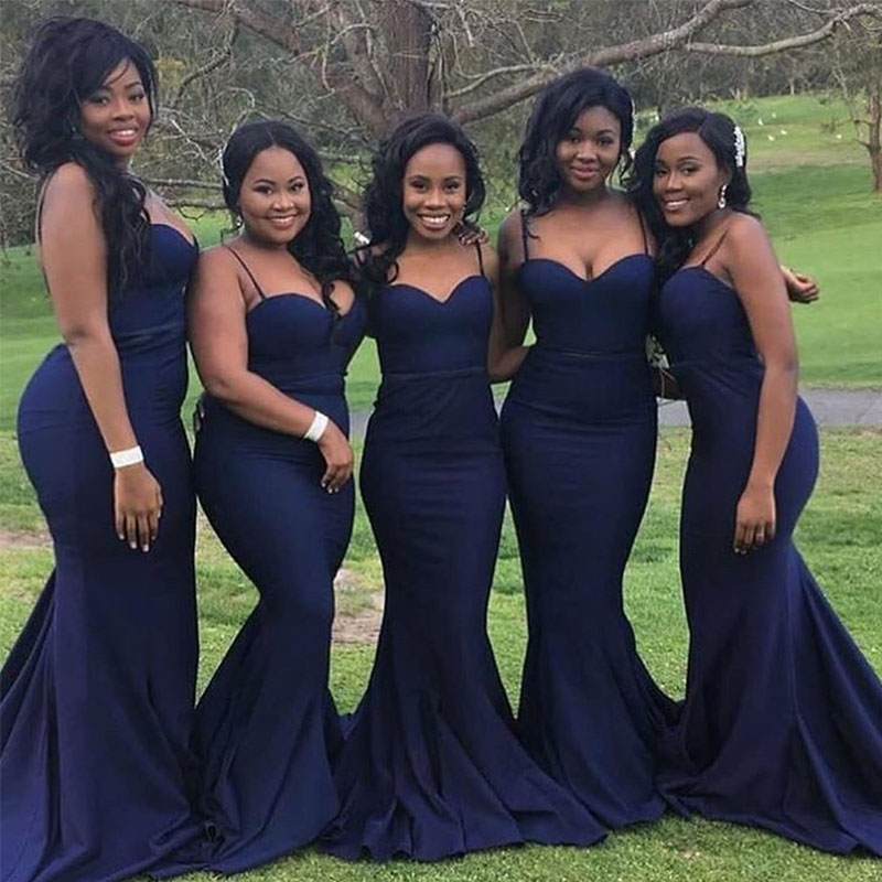Lamiabridal 2019 New Royal Blue Bridesmaid Dresses Spaghetti Straps Sexy Mermaid Style Country Garden Wedding Party Gowns Simple