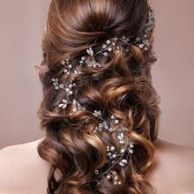 Tocado de novia Vintage 100 CM mujer perlas con cuentas oro/blanco accesorios para el cabello Boda REGALOS recién llegado