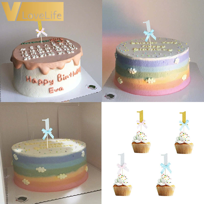 Sensational 10Pcs 1St Cake Cupcake Topper First Birthday One My 1 Year Gold Funny Birthday Cards Online Alyptdamsfinfo