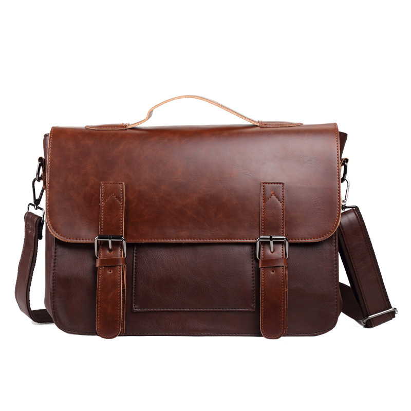 Men s Business Black Brown Casual Bag High Quality Pu Crazy Horse Leather Bag Men s