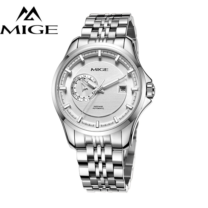 MIGE Watch Men Mechanical Wristwatch Synthetic Sapphire Crystal Tourbillion Transparent Bottom Cover Stainless Steel Watch Bands mige luxury watch men automatic watches tourbillion hollow skeleton waterproof synthetic sapphire glass stainless steel bracelet