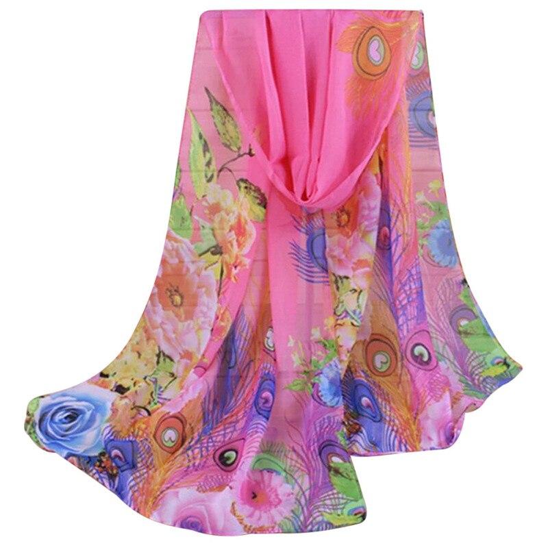 Jinggton oval Fashion Lady Women Floral Prints Shawl Chiffon Scarf Shawl Wrap Scarf Four Colors pink yellow blue red