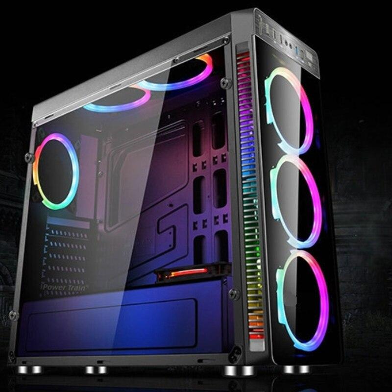 Neue Gaming Computer ATX PC Fall Vollturm USB 3.0 mit 4 RGB 120mm lüfter hochwertige pc-gehäuse Turm Für GFaming