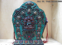 song voge gem S0655 14 Tibet Wood Carve inlay coral turquoise gem ruby beryl Sakyamuni Buddha TangKa