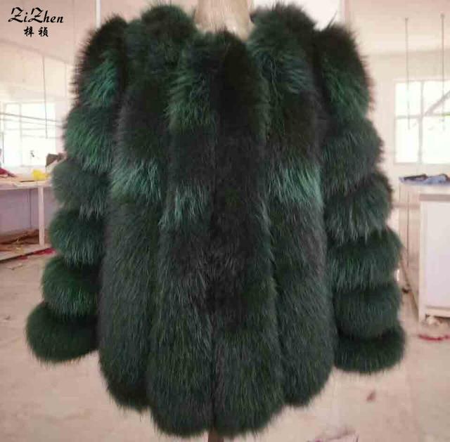 Novo Inverno Longo Natural Raccoon Dog Fur Coats Mulheres Genuine Real O Casaco de Pele De guaxinim de Luxo Completa Pelt Além de Jaqueta Tamanho 170712-1