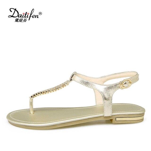 123950142123 Daitifen Sandalias Mujer 2018 Genuine Leather Classy Ladies Sandals Stylish  Chain Footwear T-tied Women s Flip Flops Sandals