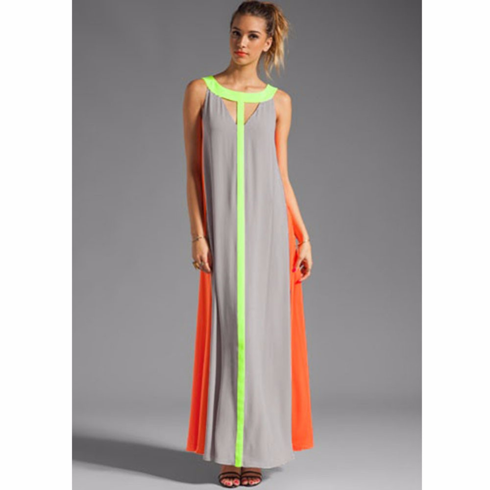 8ecc7dfef08 2016 Fashion Women Maxi Dress Sexy Cut out Neon Color Patch Robe Long Dress  Sleeveless Summer Dress Blockcolor Tank Dresses-in Dresses from Women s  Clothing ...