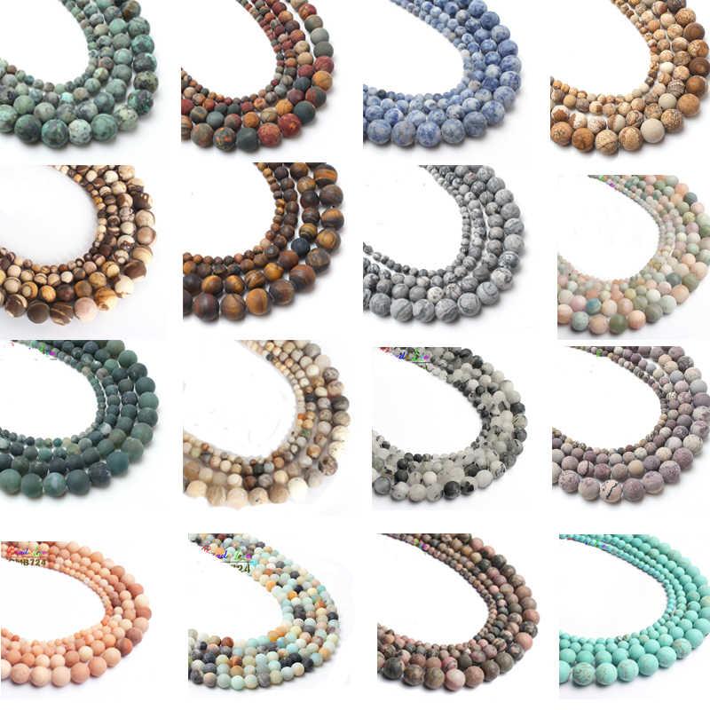 Venta al por mayor de cuentas sueltas redondas de ágata mate pulida para hacer joyas, collar de pulsera DIY de piedra Natural 4/6/8/10MM 15''