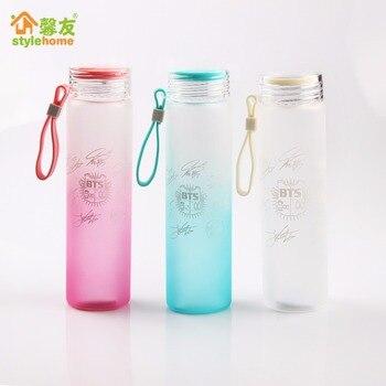 kpop BTS Bangtan Boys Group official The Same Summer gradient frosted glass bottle freshness letter Lemon cup Bts cups 3 colors glass bottle