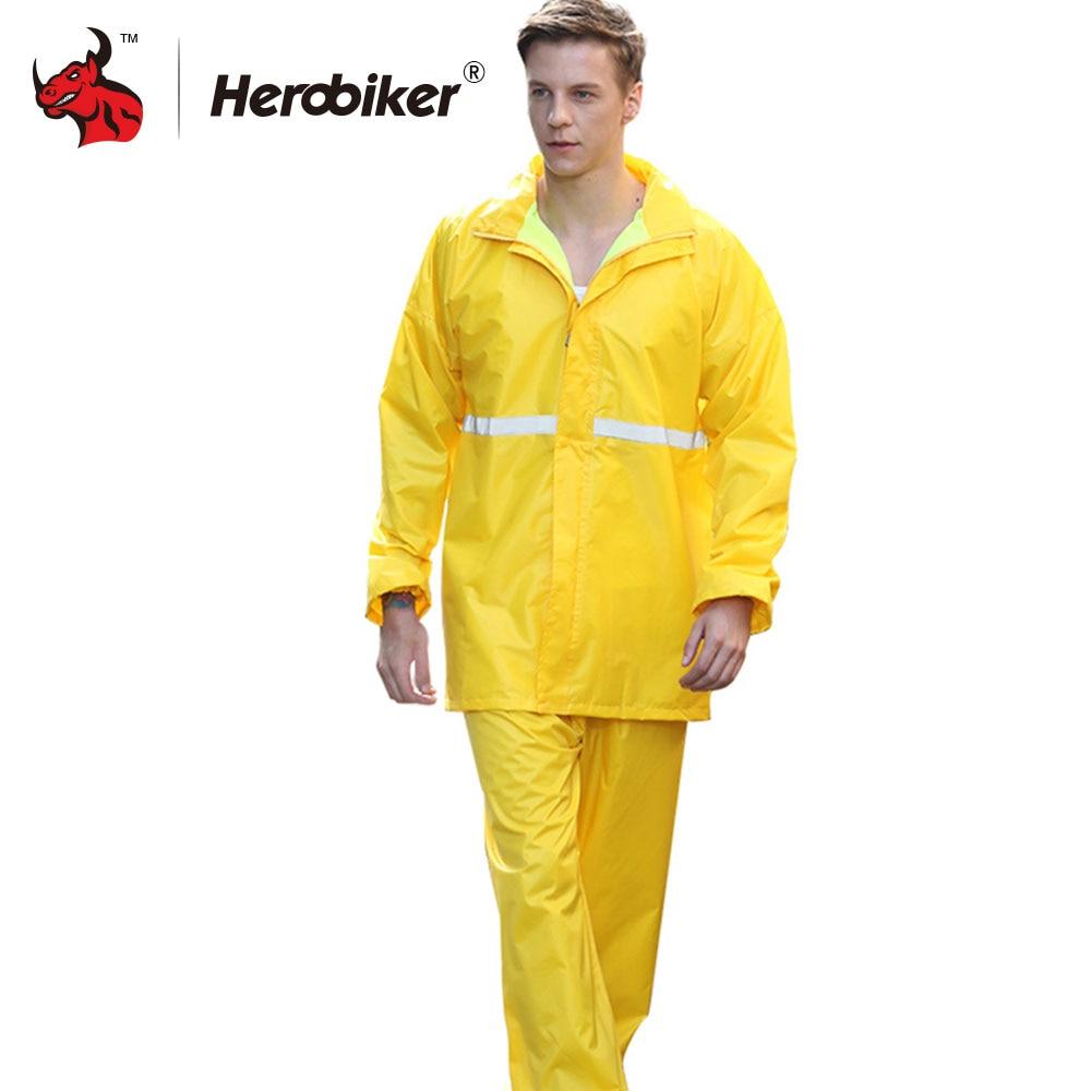 HEROBIKER Unisex Suit Rain Coat Motorcycle Raincoat Camping Fishing Rain Gear Poncho Impermeable Raincoat Motorbike Rain Suits