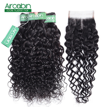 Brazilian Water Wave Bundles With Closure Non Remy Human Hair Bundles With Closure Free Shipping 3/4 Bundles With Closure