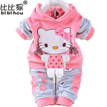 2017 New Baby Children Clothes Suits Velvet Hello Kitty Cartoon T Shirt Hoodies Pant Twinset Long