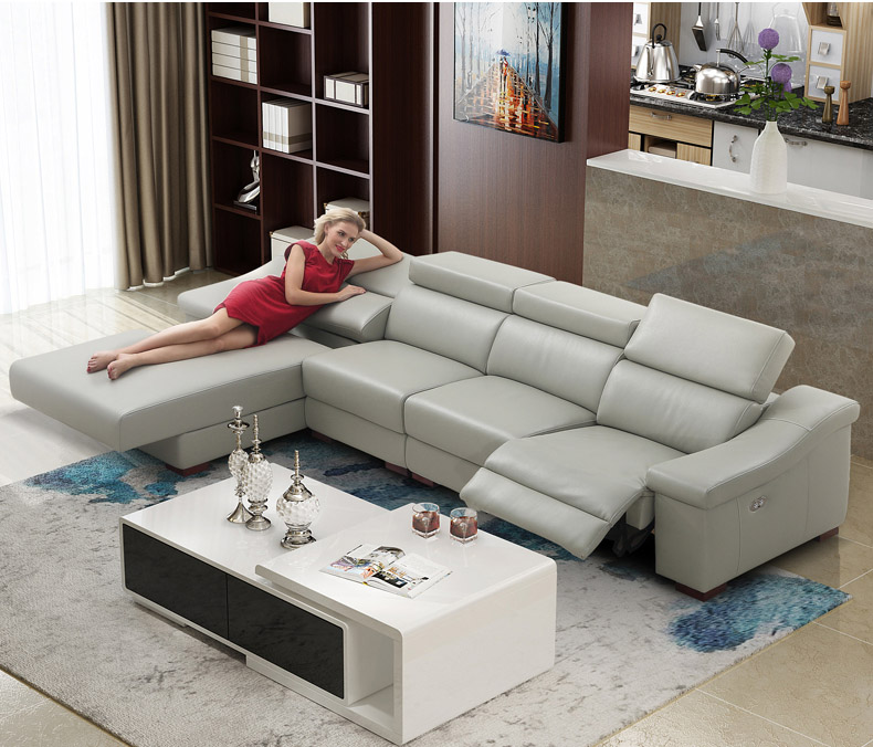 Cheap Genuine Leather Sectional Sofa: Living Room Sofa Set L Corner Sofa Recliner Electrical