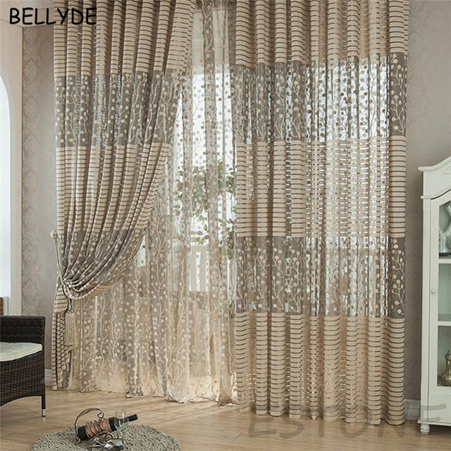 BELLYDE Luxury Style Curtains Kitchen Curtains Window Living Room Curtain  Panel Jacquard Fabrics Door Grey Striped Drape Balcony