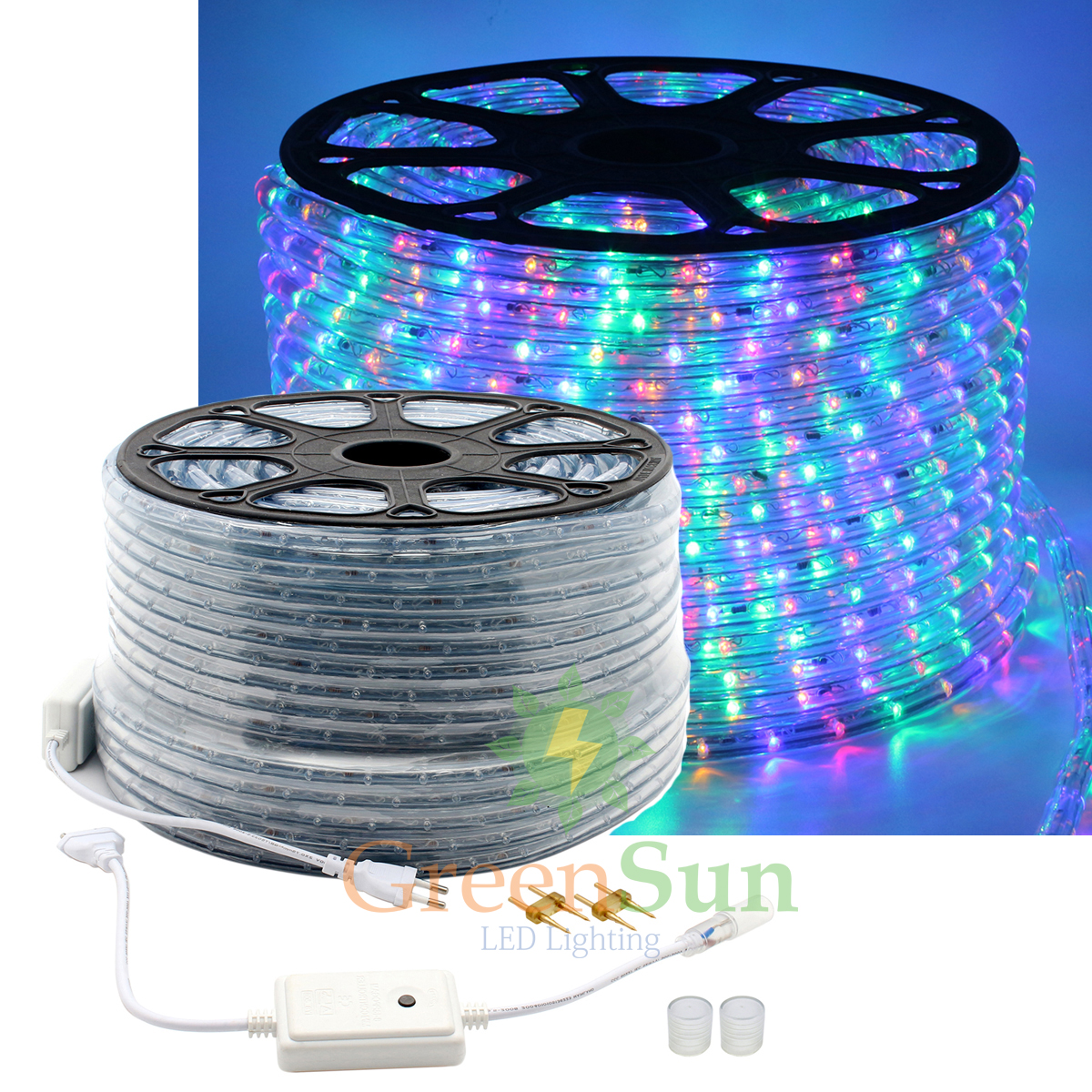 ФОТО 20-50M M36 leds/m 2-Wire Waterproof IP68 Four-color LED Strip Rope Light Home Garden Xmas Lamp LED Strip Light With Power line