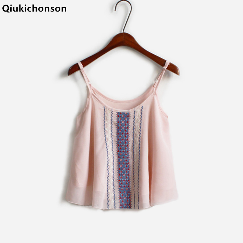 Qiukichonson Embroidery Crop Top Women 2018 Summer Tops Ladies Bohemian Embroidery spaghetti strap top camis camisas mujer