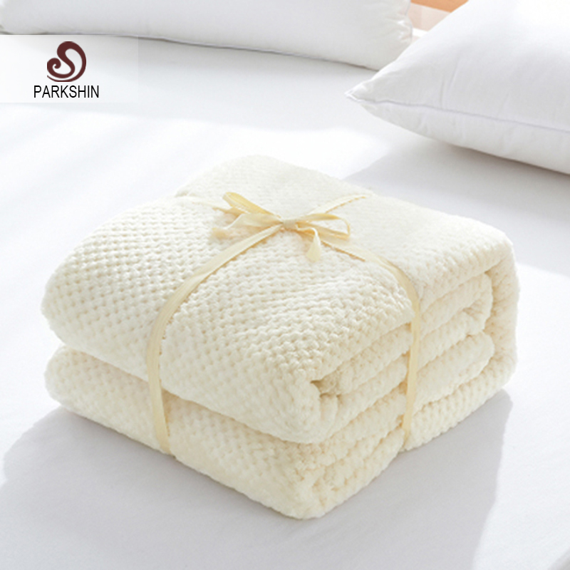 Parkshin Fashion White Flannel Blanket Aircraft Sofa Office Adult Children Use Blanket Fleece Throw Travel Blanket For Couch
