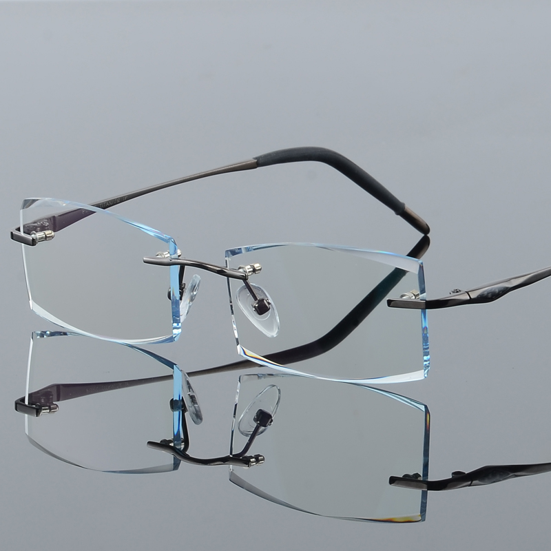 2017Rimless Titanium Frame Eyeglasses Unisex Presbyopic Ti Frame Gold Myopic Glasses Ceramic Nose Pards Receptglasögon