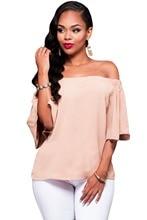 Echoine Summer Slash Neck Loose Blouses Women Pink Color Half Sleeve Off Shoulder Shirts Tops Casual Blusas Feminino