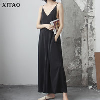 [XITAO] 2018 Vintage New Korea Summer Women Solid Color Loose Strapless Jumpsuits Female Full Length Wide Leg Jumpsuits KZH1447