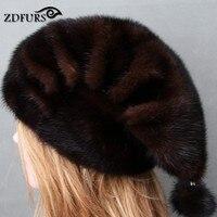 Glaforny New Genuine Whole Mink Fur Beanies Real Fur Hats Women Winter Caps Good Quality Christmas Fur Hats Mink Fur Balls