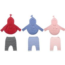 2Pcs Baby Girls Boys Knitted Crochet Outfits Hooded Sweater+Pants Suit Set 1-4Y New