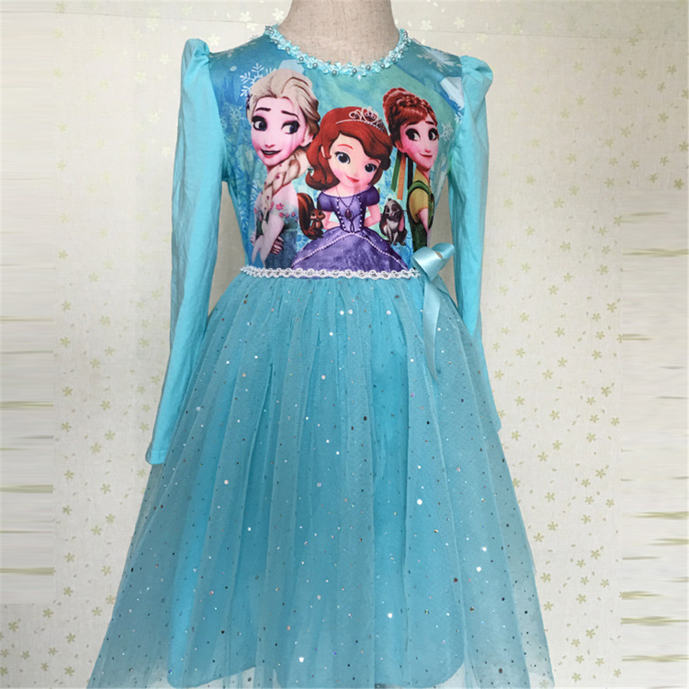 Winter Girls Elsa Anna Fantasia Princess Dresses+Cape Sophia Sequins Bow Long Sleeve Tutu Dresses infantil Aurora Voile Costumes